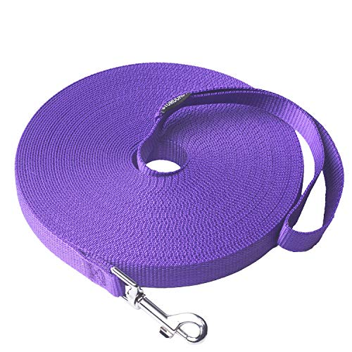 Siumouhoi Dog/Puppy Obedience Recall Training Agility Lead- 15ft 20ft 30ft 40ft 50ft Long Leash -for Training Leash, Play, Safety, Camping,or Backyard (50Feet, Purple)