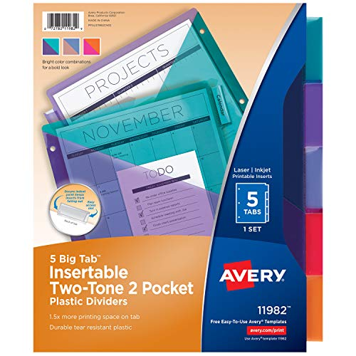 Avery 5-Tab Plastic Binder Dividers with Pockets, Insertable Multicolor Big Tabs, Two-Tone, 1 Set (11982) ()