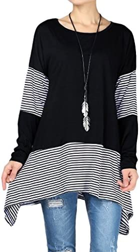 Mordenmiss Womens Stripes Asymmetry T Shirt product image