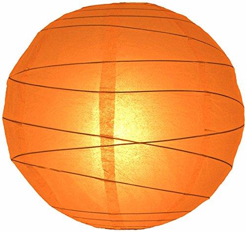 "Quasimoon 24"" Orange Round Paper Lantern, Crisscross Ribbing, Hanging Decoration by PaperLanternStore"