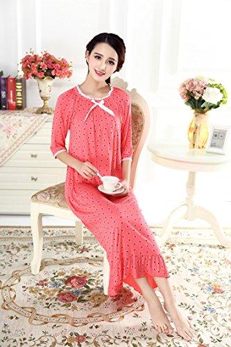 1 Vestito Camicia Manicotto Il Vittoriano Notte Donne Da Cotone Rossa Del Di Soojun Casa Delle Metà Floreale Arancia 44UpA