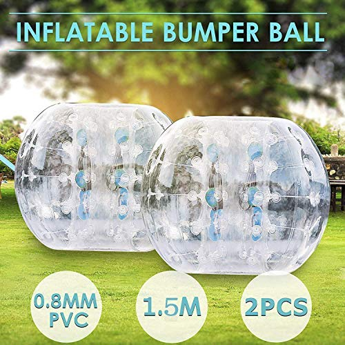 Popsport Inflatable Bumper Ball Set 5FT Bubble Soccer Ball Suit 2 Pack 0.8mm Eco-Friendly PVC Zorb Ball Human Hamster Ball for Adults and Kids (5FT 2Pcs)