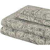 Superior 300 Thread Count Cotton Maywood Print Sheet Set, Queen, Grey