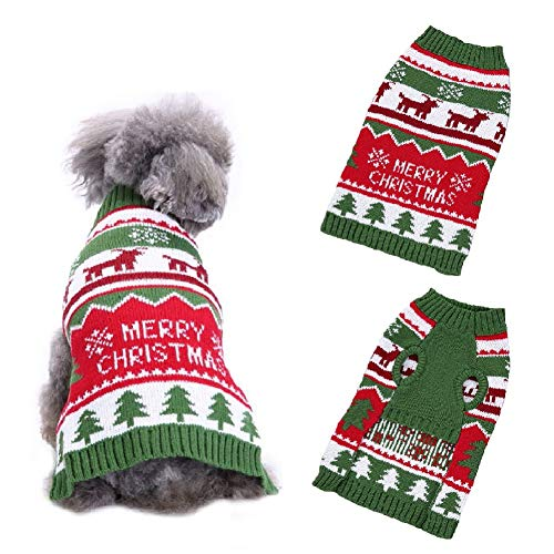 Stock Show Pet Xmas Sweater Small Dog Cat Christmas Tree Reindeer Knit Sweater Winter Soft Warm Stretch Pullover Knitted…