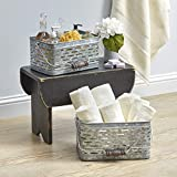 Galvanized Metal Baskets with Handles - Small