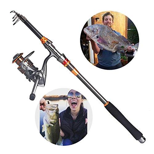 Plusinno fishing rod and reel combos full kit carbon for Plusinno fishing rod