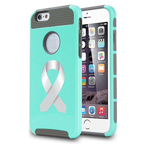 Apple iPhone 7 Shockproof Impact Hard Soft Case Cover Diabetes Brain Cancer Parkinson's Disease Lung Cancer Color Awareness Ribbon (Teal)