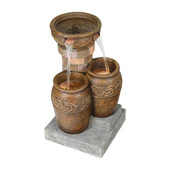 """John Timberland Tuscan Outdoor Floor Water Fountain with Light LED 31 1/2"""" High Cascading for Yard Garden Patio Deck Home - 31 1/2"""" high x 19"""" wide x 19"""" deep. Weighs 33 lbs. Tuscan stone traditional garden patio fountain from the John Timberland brand. Water flows from top basin into the two lower basins. Built-in LEDs in the two lower urns. - patio, outdoor-decor, fountains - 51sETe4a6UL. SS570  -"""