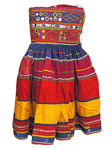 [Bohemian Tribal Gypsy Costume Belly Dancing Mirror Work Belt Clothing Skirt S] (Banjara Dance Costumes)