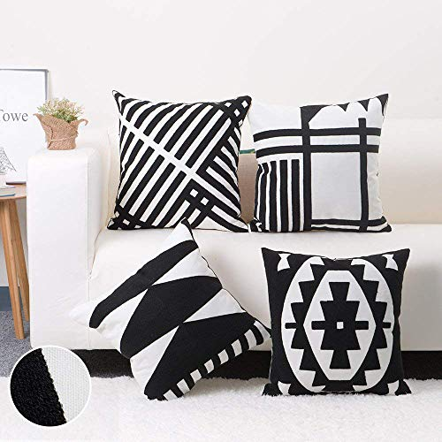 Baibu Embroidered Throw Pillow Case 4PCS/Set, 100% Cotton Black and White