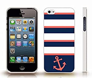 iStar Cases? iPhone 5/5S Case with Chevron Pattern Salmon Pink/ Dark Blue Stripe Salmon Pink Anchor , Snap-on Cover, Hard Carrying Case (White)