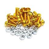 uxcell 20pcs 6mm Dia Gold Tone Aluminum Alloy Hex Socket Head Motorcycle Bolts Screws Nuts