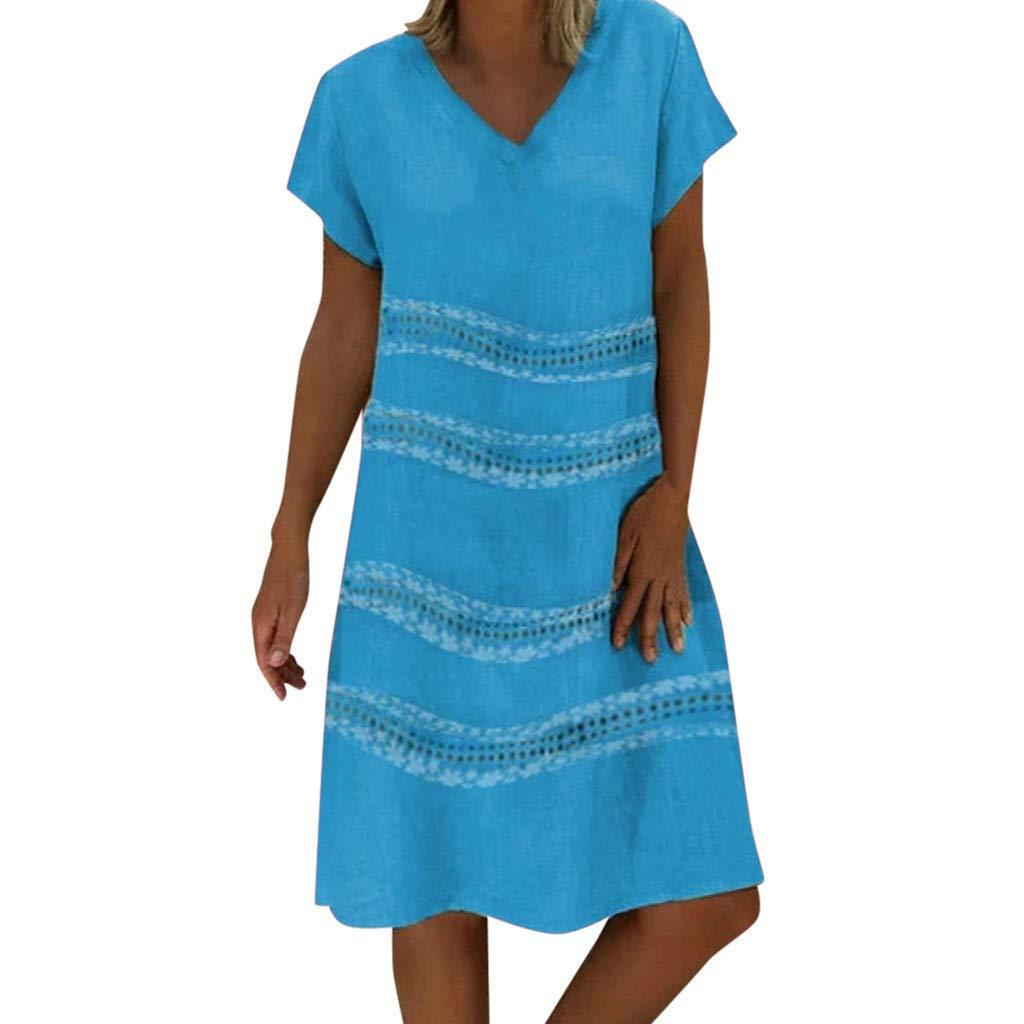 Fashion Leisure Summer Beachwear Sleeveless Blouse Dresses ❀Vine_MINMI❀ Casual Wear Printed Women's T-Shirt Dress Blue by Vine_MINMI Dress