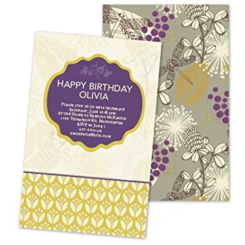 Image Unavailable Not Available For Color Ornate Dragonfly Personalized Adult Birthday Party Invitations