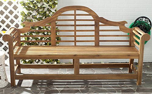 Safavieh Patio Collection Felicity Adirondack Acacia Wood Bench, Natural (Bench Wood Acacia)