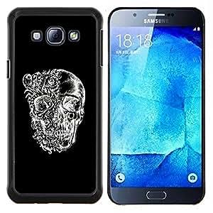 "Be-Star Único Patrón Plástico Duro Fundas Cover Cubre Hard Case Cover Para Samsung Galaxy A8 / SM-A800 ( Cráneo Negro floral blanco Significado Profundo"" )"