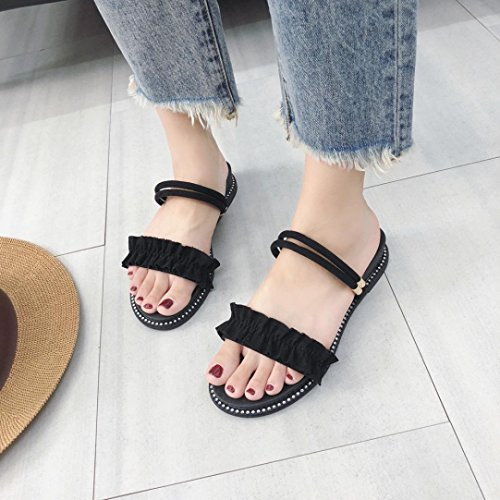 Byste Women Fashion Lace Indoor Outdoor Flat Heel Sandals Slipper Beach Shoes Black yFdFiv