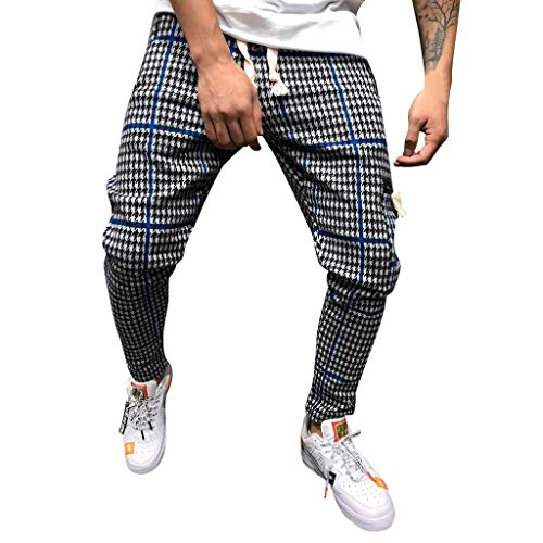 Mens Pants,2019 New Classic Drawstring Plaid Stripe Print Elastic Waist with Pocket (US:32, Blue)