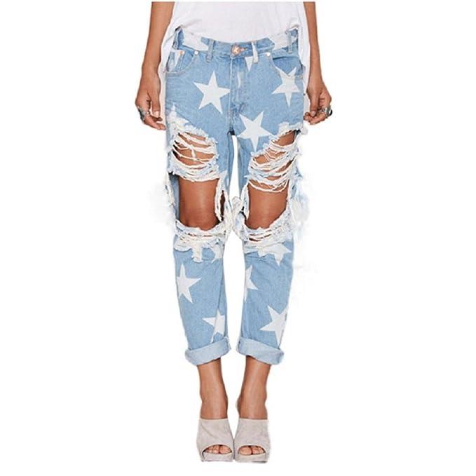 SYGoodBUY Pantalones Vaqueros de Mujer Jeans Altos de ...