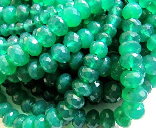 AAA Quality Green Onyx Rondelle Faceted Beads 7mm to8mm and 9mm to10mm SIZE you SELECT, Strand 9 inches long Natural Gemstone Sold Per Strand