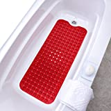 SlipX Solutions Red Extra Long Bath Mat Adds Non-Slip Traction to Tubs & Showers - 30% Longer Than Standard Mats! (200 Suction Cups, 39'' Long - Extended Coverage, Machine Washable)