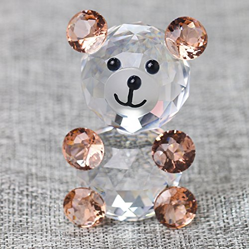 H&D Pink 3D Little Bear Crystal Figurine Paperweights Glass Xmas Wedding Decoration -