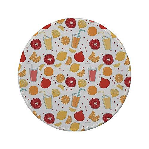 Non-Slip Rubber Round Mouse Pad,Modern,Fruits Pomegranate Orange Juice Kitchen Lemon Sweet Yummy Food Artsy Illustration,Apricot Ruby,7.87