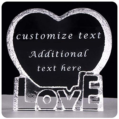 H&D Custom Personalized Crystal Glass Award Plaque Trophy Etched Engraving Crystal - for Love,Graduation, Appreciation, Achievement