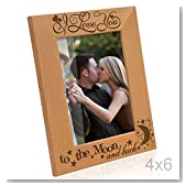 Kate Posh - I love you to the moon and back - Engraved Solid Wood Picture Frame (4x6 Vertical)