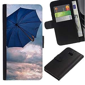 LASTONE PHONE CASE / Lujo Billetera de Cuero Caso del tirón Titular de la tarjeta Flip Carcasa Funda para HTC One M8 / Umbrella Blue Rain Depression Spring Clouds