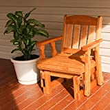 Amish Heavy Duty 600 Lb Mission Pressure Treated Glider Chair (Cedar Stain)