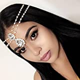 Diamante Kundan Stone Pearl Hair Jewelry Grecian Head Chain Bridal Wedding White Head Piece (Gold Plated)