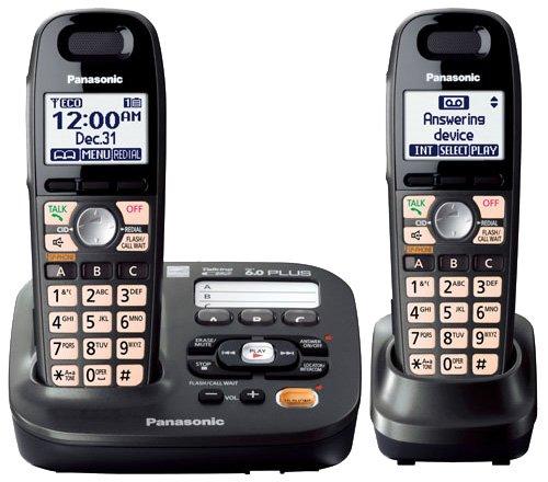(Panasonic KX-TG6592T + KX-TGA405 - 2 Handset Cordless Telephone System 1.9GHz DECT 6.0 With Range Extender)