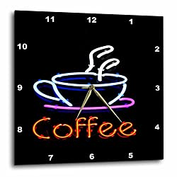 3dRose image of Neon Sign with Word Coffee and Coffee Cup - Wall Clock, 13 by 13-Inch (dpp_223453_2)