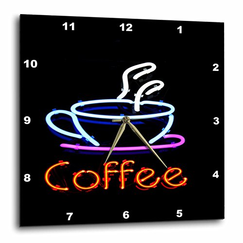 3dRose Image of Neon Sign with Word Coffee and Coffee Cup - Wall Clock, 13 by 13-Inch ()