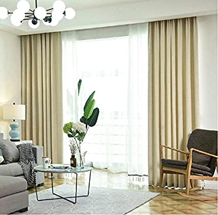 Amazon.com: ZYLHC Solid Color Curtains, Living Room Bedroom ...
