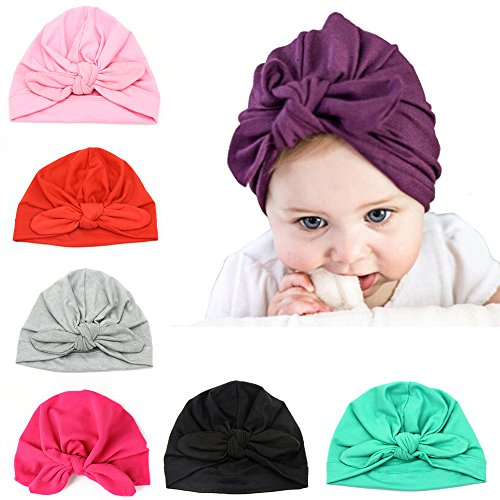 Upsmile 7 Pieces Adorable Baby Knot Headbands Newborn Elastic Sretch Turban Wrap Baby Hat