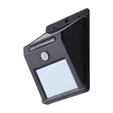 [ 8 LED Luz Solar con sensor de Movimiento ] Quarice Foco Solar Impermeable Sensor-