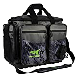 KastKing Fishing Tackle Bags, Large Saltwater Resistant Fishing Bags, Fishing Gear Bag, Large-Lunker, (Without Trays, 19.7x13x10.6 Inches), Blackout