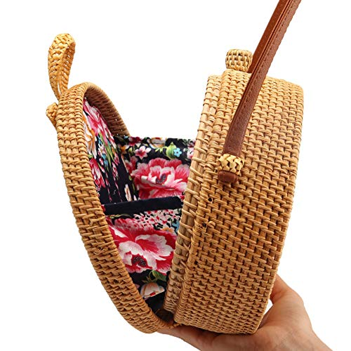 Handwoven Round Rattan Bag Shoulder Leather Straps Natural Chic Hand (Hand Woven Handbag)