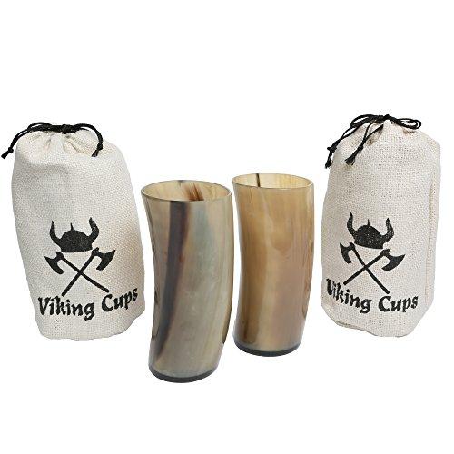 Viking Drinking Horn by Viking Cups – Authentic Medieval Mead Cup- Leak Free Beer Beaker- Handmade Stein Mug (NO TWO LOOK ALIKE)- Unique Renaissance Tankard- Gift in Hemp Sack (16oz (2 (Character Beer Stein)