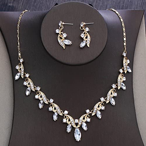 Amazon Com Gtvernh The Bride Wedding Gold Diamond Flower Pendant Necklace Set Wedding Wedding Accessories A Sports Outdoors