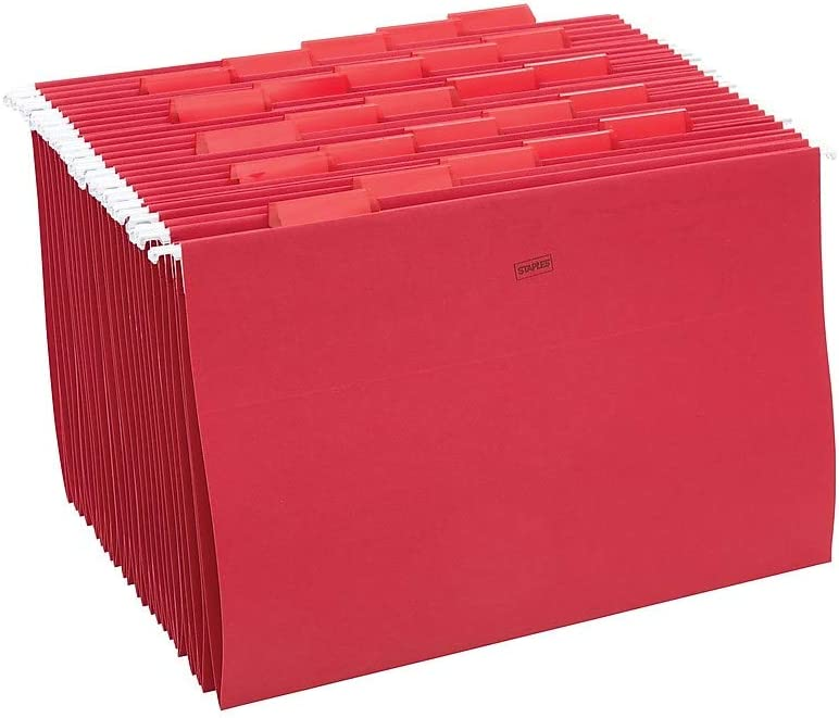 163980 Staples Hanging File Folders 5-Tab Legal Size Red 25//Box