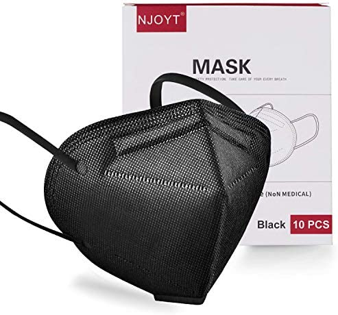 Face Mask Black Disposable Face Mask Black Face Mask 10 Pack | Black Face Mask for Protection 5 Layer Non-Woven | Face Coverings for Men and Women Lightweight and Comfortable on Skin