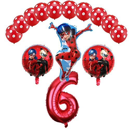 Miraculous Ladybug Foil Balloons Birthday Party Decorations Number Ladybug Helium Mylar Latex Balloon Globos Wholesale - 14PCS (6)