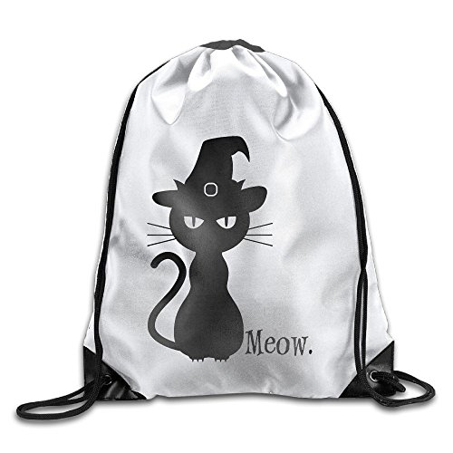 Black Cat Halloween Meow Drawstring Backpack Bunched Bag For Men & Women School Travel Backpack