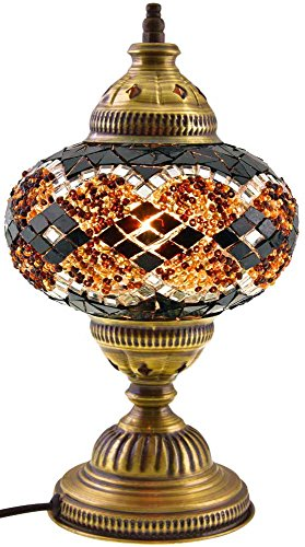 New BOSPHORUS Stunning Handmade Turkish Moroccan Mosaic Glass Table Desk Bedside Lamp Light with Bronze Base (Brown Glass Table Lamp)
