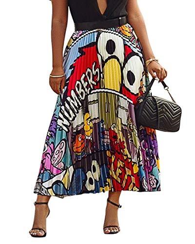 (ThusFar Women's Graffiti Pleated Skirts Cartoon Printed Elastic Waist A-Line Swing Midi Skirt White Eye)