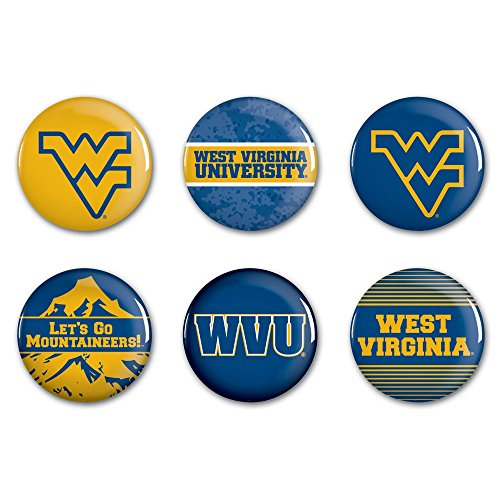 WinCraft NCAA West Virginia University WCR90428012 Round Button (6 Pack), - Mountaineers Pins West Virginia