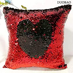 Red to Black Magic Sequin Pillow Covers